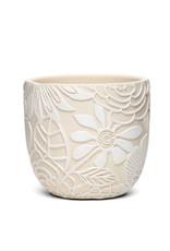 White Floral Motif Pot