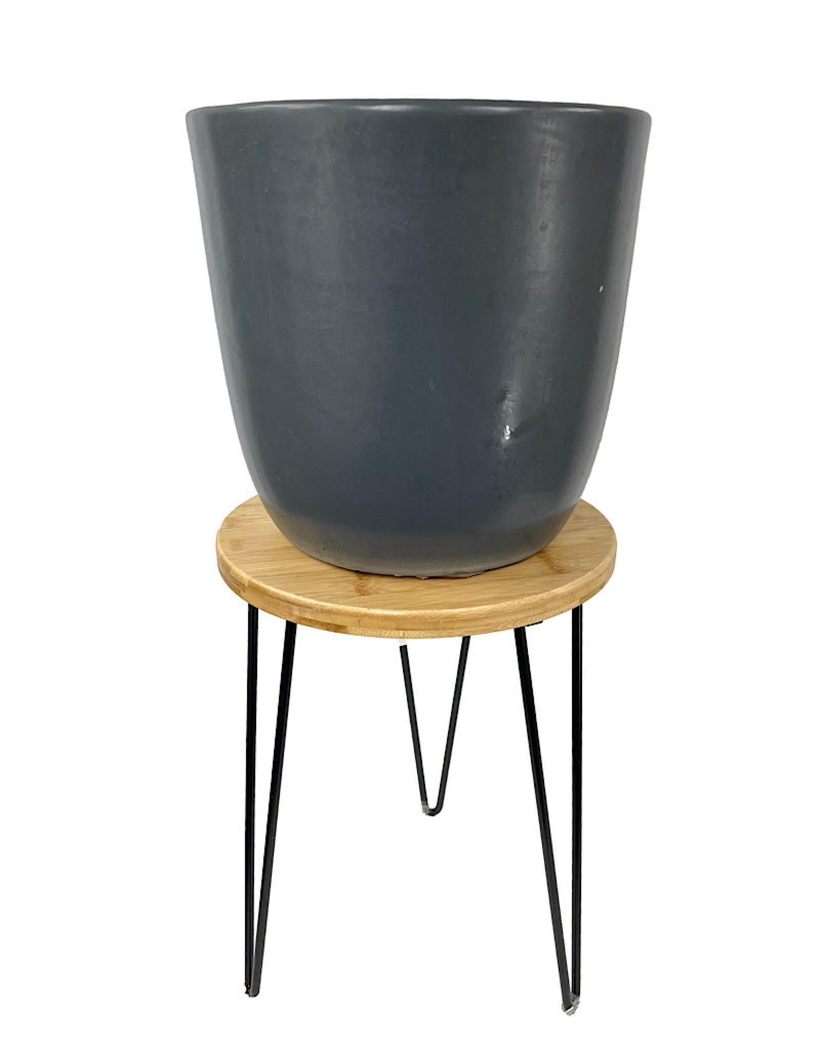Wire and Bamboo Wood Plant Stand 16 Inch