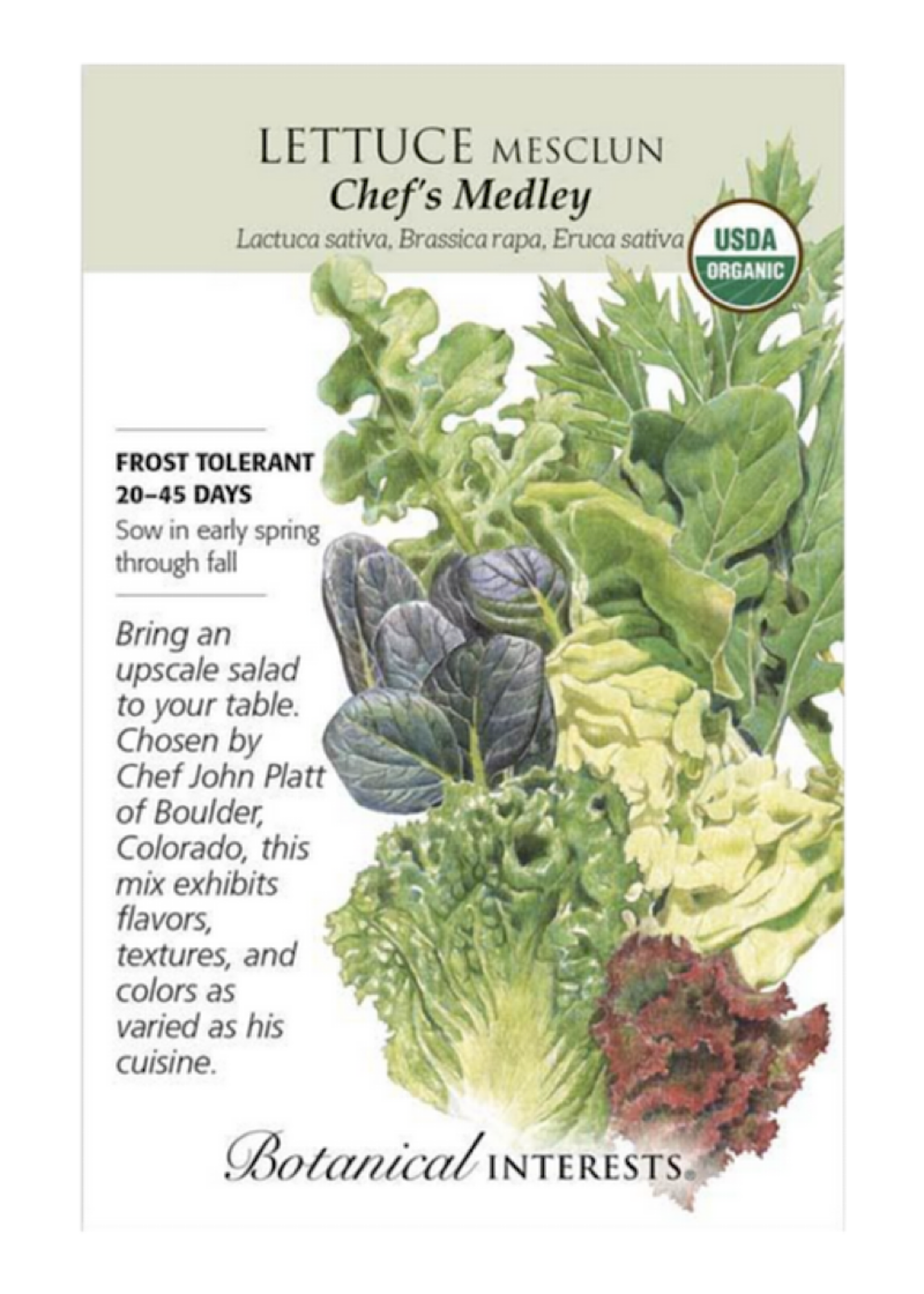 Lettuce Mesclun 'Chef's Medley' Seed Pack