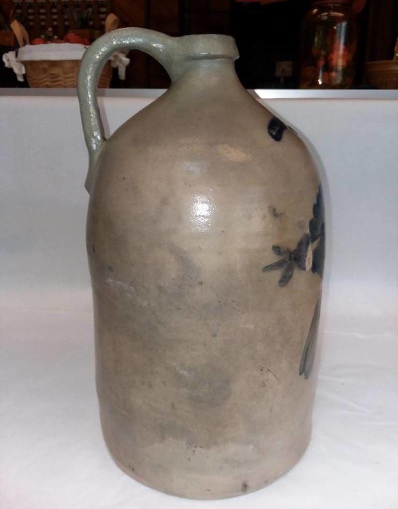 White's Stoneware Jug w/Drooping Orchid, 2 Gallon, M-L.1800's