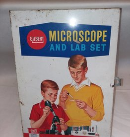 "Gilbert Microscope Set in Original Case, 13.5x9.5x4"", c.1960"