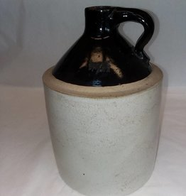 Brown & White Stoneware Jug without Marks, 1 Gallon,  c.1900