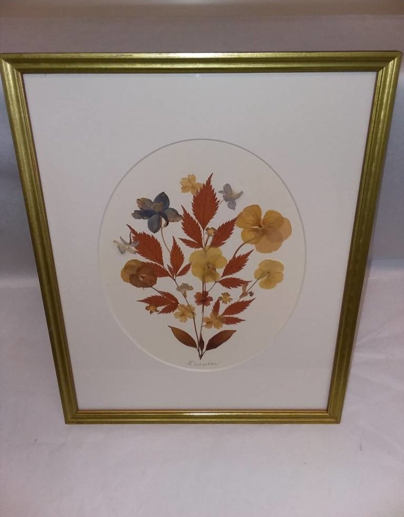"""Pressed Dried Flowers, Framed & Signed, 12x15"""""""