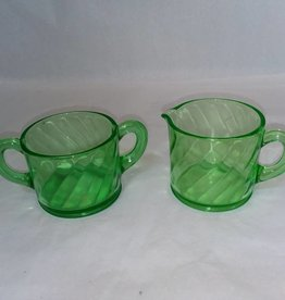 Green Vaseline/Uranium Depression Glass Sugar & Creamer, 1950's