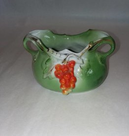 "Porcelain mini-Vase, Green w/Red Berries, 5x3"", c.1890"