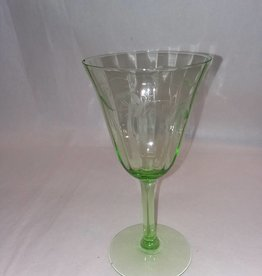 "Etched Green Depression Wine Glass, 6.5"",1920's"