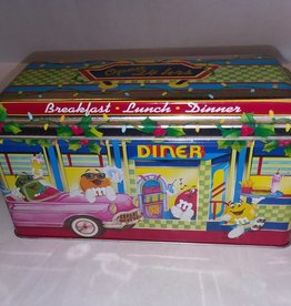 "M&M Peanut Diner Tin, 8.75x3.75x4.75"", 1996"