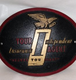 Your Independent Ins. Agent Cast Metal Wall Plaque, Eagle, c.1970