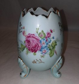 "Blue Napcoware Footed Egg Vase, Hand Painted, 6"", c.1950"