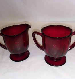 Red Creamer & Sugar Set, 2 pcs., m.1900's