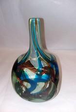 """Mdina Cut Ice Art Glass Fish Vase, Malta, 7.5"""" m.1970's Malta"""