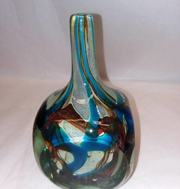 "Mdina Cut Ice Art Glass Fish Vase, Malta, 7.5"" m.1970's Malta"