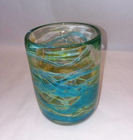 "Mdina Art Glass Cylindrical Vase Blue/Green Swirls, Malta,  6.75"", E.1970's"
