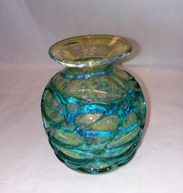 "Mdina Art Glass Signed Vase w/Applied Ridges, Blue/Green, Malta, 5.75"" L.1970's."