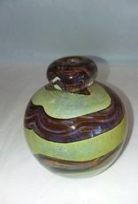 "Mdina Art Glass Blob-top Vase,, Malta,  Sandy Cream/Brown, 4"" H, M.1970's"