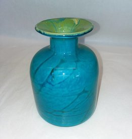 "Mdina Ming-type Art Glass Bottle, Malta, Blue & Green, 5.75"", L. 1970's"