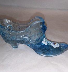 """Fenton Blue Floral Design Signed Slipper, 5.5x3"""""""