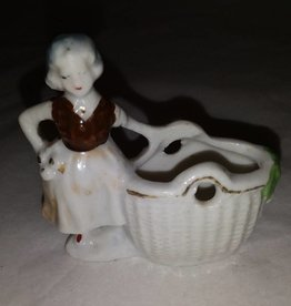 "Occupied Japan Porcelain Girl w/basket Figurine, L.40's, 2.5"" Long"