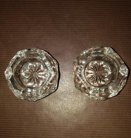 "Octagon Shaped Salts/Set of 2, Clear Glass, 1 7/8"", 1930's"