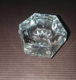 Clear Cut Glass Open Salt, Starburst Bottom, E.1900's, 1.5""