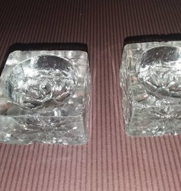 "Square Clear Glass Salts/Set of 2, Minor Chips (AS IS), 1 3/8"", 1930's"