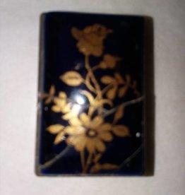 Mini Brass Matchbox w/Porcelain Top, Applied Gold, c.1950's