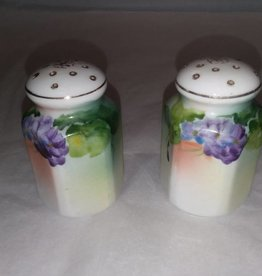 Hand Painted Violets,  Salt & Pepper Set, E.1900's, Japan