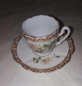 Mini Porcelain Teacup & Saucer, Applied Gold, Floral Design, c.1900,