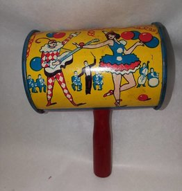 """Small Can Party Rattle, Made in USA, 3.25x2.25"""", 1930's"""
