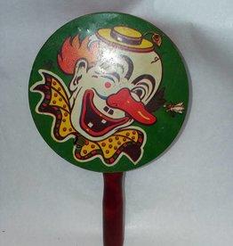 """Pan Noisemaker, Clown Face, 4x7/8"""", c.1950"""