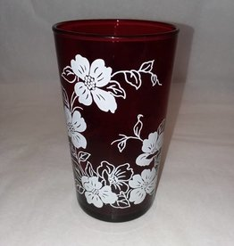 "Ruby Red Flower Glass, 4.75"" Tall, c.1950"