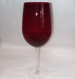 "Large Ruby Red Wineglass w/Clear Stem, 10.25"", 1980's"