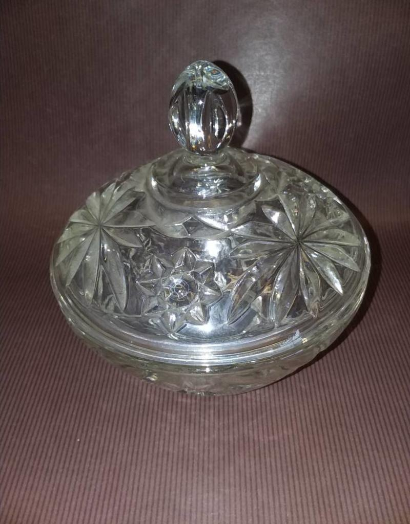 """Pressed Glass Covered Candy Dish, 5.25"""", 1950's"""