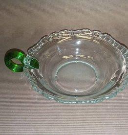 "Candy Dish, Applied Green Handle & Ruffled Lip, E.1900's, 5"" Diam, 1.25""Deep"