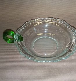 "Candy Dish with Applied Green Handle & Ruffled Lip e.1900's, 5"" diameter"