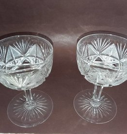 "Pair Cut Glass Sherbets 4.75"" e.1900's"