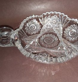 Cut Glass Nut Dish w/Finger Hole Handle e.1900's 7""