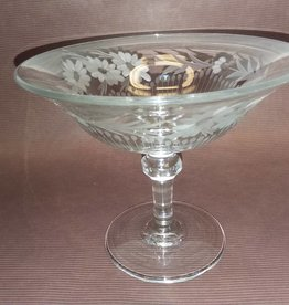 "Heisey Etched Compote w/Floral Etching, 5"", c.1950"
