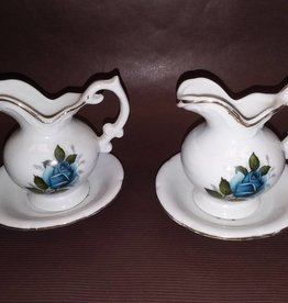 Enesco Miniature Pitcher & Saucer w/Blue Rose, 1979