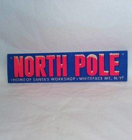"Souvenir Bumper Tag,  Cardboard, N. Pole Santa's Workshop, 16"", 40's/50's"