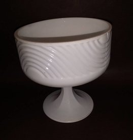 "Milk Glass Pedestal Dish, 5.75"" Tall, 1950's."