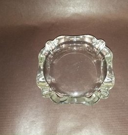 "Vintage Clear Glass Ashtray, Holds 4 Cigarettes, 4x4"", 1950's"