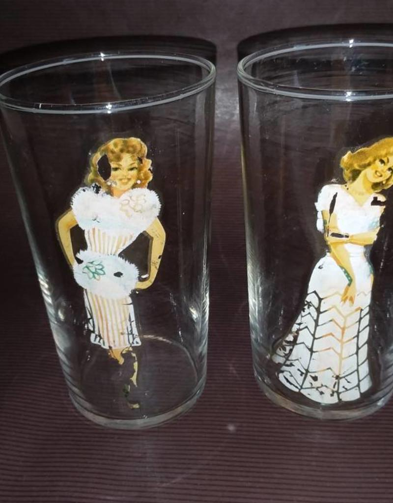 2 Risque Drinking Glasses, Fedcoal Glass, c.1950