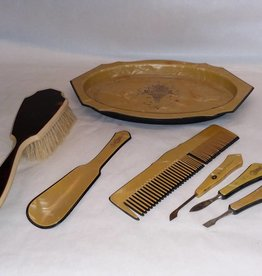 Celluloid Mixed Dresser / Vanity Set, E.1900's, 7 Pieces