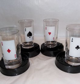 4 Aces Glasses With Ashtray, Set of 4, 1970's