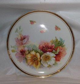 "Floral Plate w/Gold Trim, 10.5"" Diameter, c.1950"