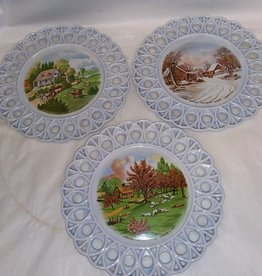 "Handmade 9"" Ceramic Plate, Applied Currier & Ives American Homestead Design, 1970's"