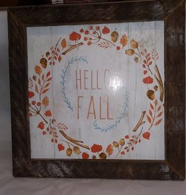 Hello Fall 12 X 12 Lath Sign