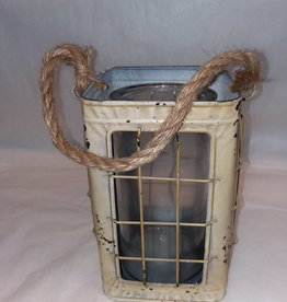Square Metal Lantern w/Glass Insert, 5x8.25""