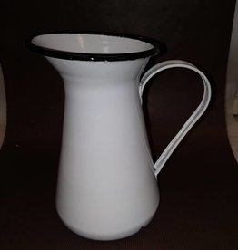 White Enamelware Pitcher, 8""
